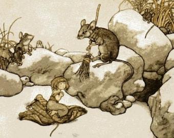 Tommelise Heath Robinson Print Hans Andersen Fairy Tales Children's Story Book Plate Delightful Nursery Art Vintage Wall Hanging