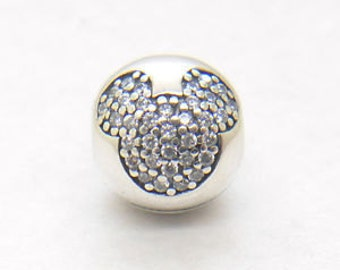 Pandora Mickey Sterling Silver Pave' Clip with Clear CZ's # 791449CZ
