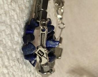 Handmade Mens Genuine Blue Lapis Stone Square Nut Silver Wrench Studded Bracelet Men's lapis bracelet Men's steampunk bracelet jewelry