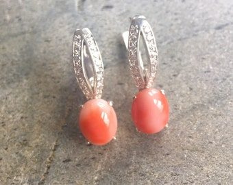 Coral Earrings, Natural Coral, Angel Skin Coral, Solid Silver Earrings, Italian Coral, Pure Silver, Natural Stone, Sterling Silver