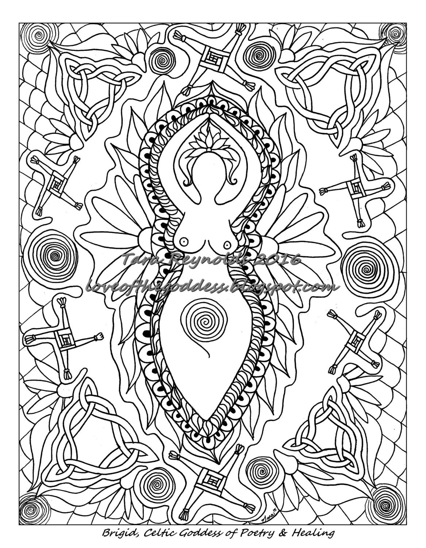coloring book page goddess art goddess print imbolc