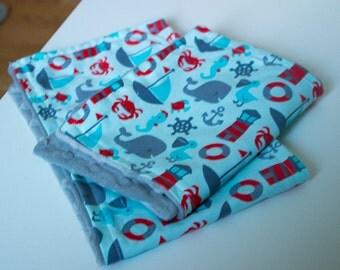 Newbor/ baby boy whales burp cloth set of 2