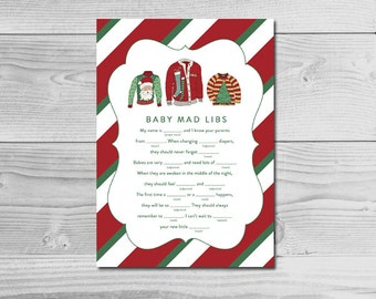 Ugly Christmas Sweater Holiday Baby Shower Activity - Baby Mad Libs - Instant Download Printable - Gender Neutral