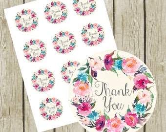 """Thank You Tags Printable. 2"""" Round Tags. Instant Download. Floral Thank You Printable Stickers.  Favors Tags Printable."""