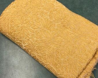 Vintage Gold Jacquard Fabric 1 1/8 yard. Retro, Elegant Fabric