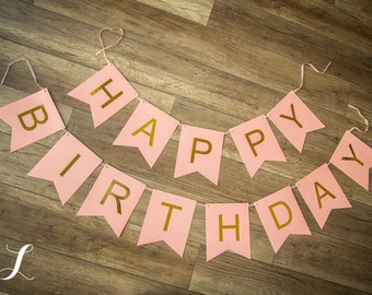 Peachy Pink and Gold Birthday Banner, First Birthday, Smash Cake Photo Prop