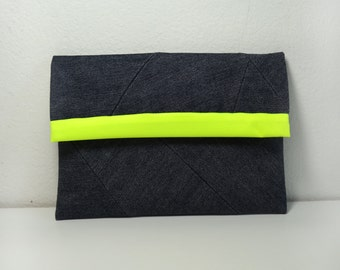 "Denim geometric sleeve , cover for 6"",7"",9.6 tablet or reader."