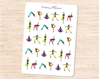 Yoga Poses (matte planner sticker, Erin Condren, Happy Planner, Filofax, Kikki K)