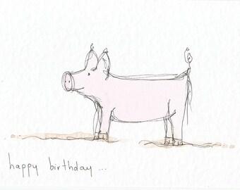 Pig 6x4 greetings card