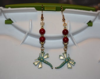 Painted Dragonfly Earrings