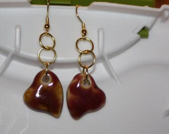 Deep Red & Yellow Heart Earrings
