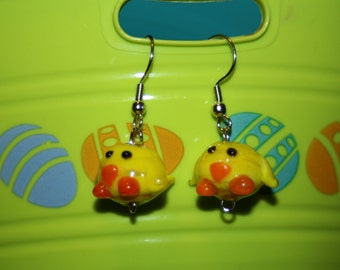 Glass Baby Chick Earrings