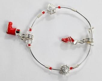 Christmas Bracelet, Charm Bracelet, Red & White Bracelet