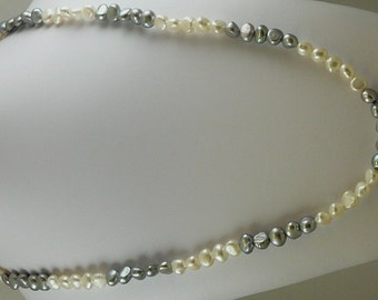 "Freshwater Grey and White 46"" Long Pearl Necklace"