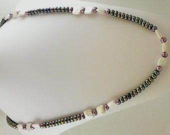 "Freshwater Black, White and Purple Pearl 7-11mm Necklace 47"" Long"