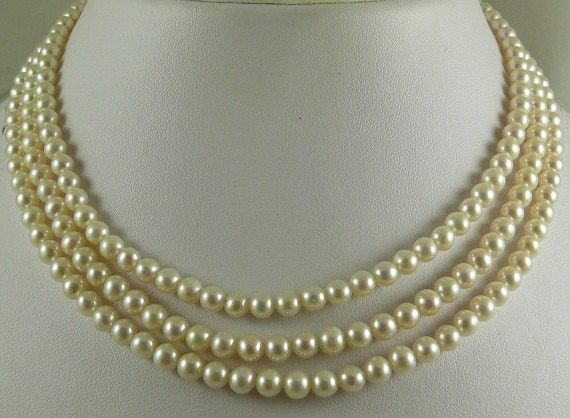 Freshwater White Pearl Triple Strand Necklace 14k Yellow Gold Clasp