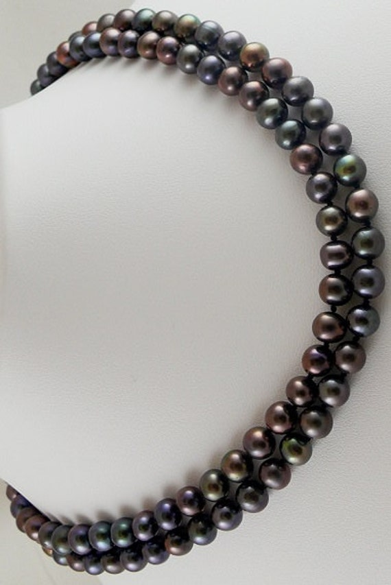 "Fresh Water Black Pearl Necklace 7.3mm x 6.4mm double strand 16"" 14KW Gold clasp"