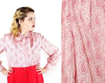 SALE Vintage 1970s 80s Pink Paisley Secretary Blouse / xlarge xxlarge