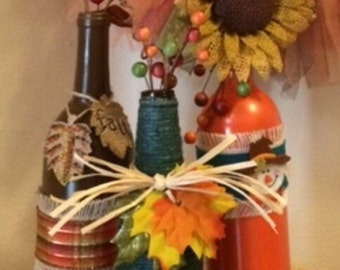 Fall Decorative Bottles, Autumn Decorative Bottles, Seasonal Home Decor, Holiday Office Decor, Recycled Decor Bottles