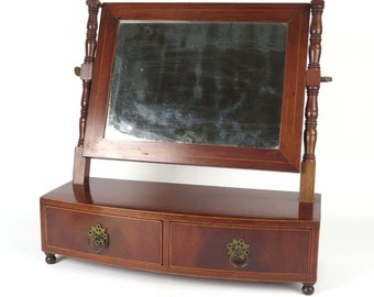 Federal shaving mirror antique period 19th c inlaid mahogany 2 drawer vanity