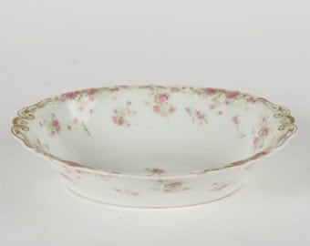 "Haviland Limoges France pink asters 10"" oval serving dish bowl Schleiger 262B"