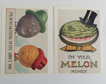 Two Unused Sweetheart Postcards With Vintage Illustrations