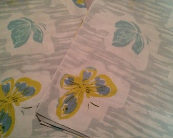 Free shipping-Pair/set of blue/ yellow butterly pillowcases-kitsch-retro/shabby/cottage/boho chic