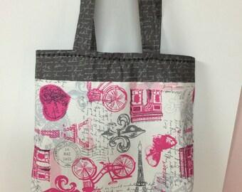 Reversible gray and pink handbag tote Parisian print eiffel tower print