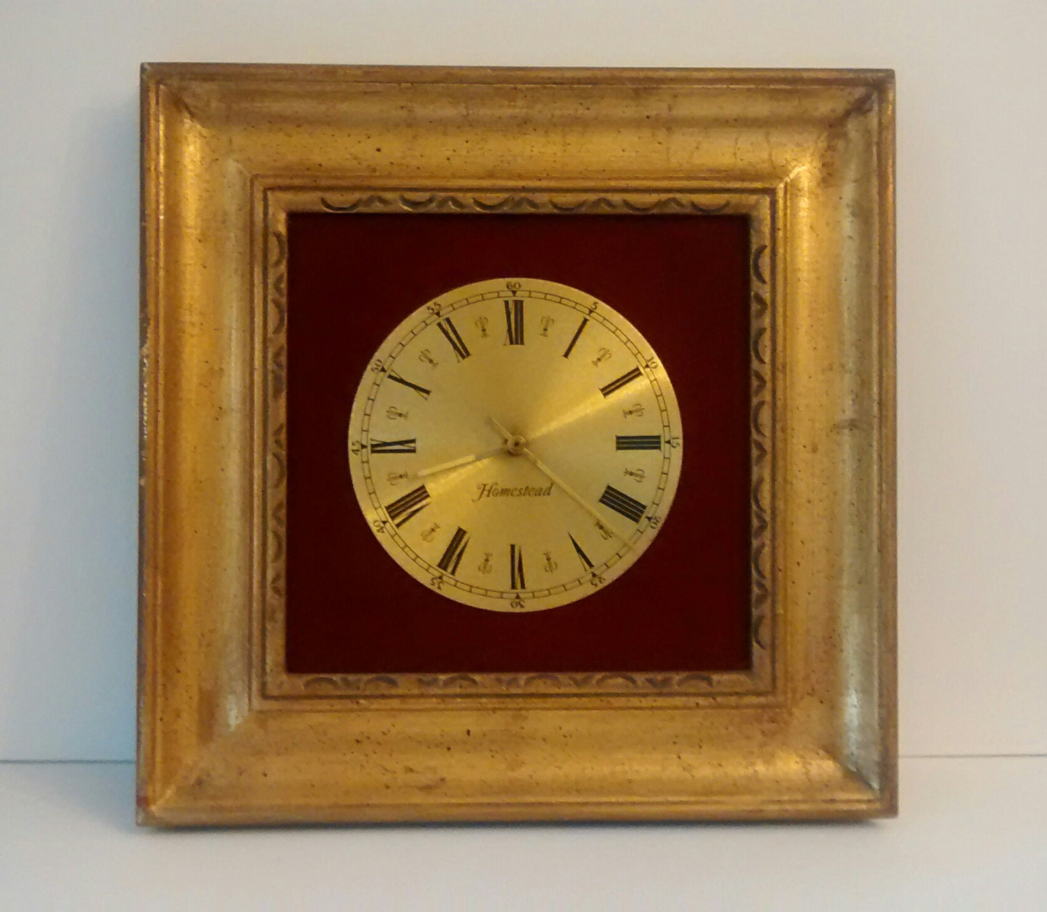 vintage red and gold wall clock. Black Bedroom Furniture Sets. Home Design Ideas