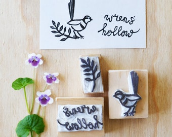 Custom hand carved rubber stamp