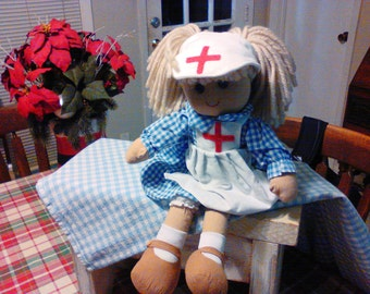 "1-Vintage ""Nurse"" Doll w/Blue plaid dress with Medical Hat & Apron Featuring a Cross of Help on Both"