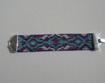 Bracelet cuff boho chic turquoise, purple, violet, white wove,