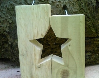 BEAUTIFUL Rustic Tealight holders with star cut through
