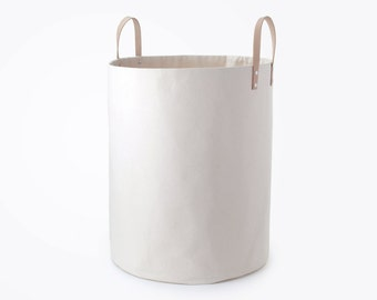 LARGE CANVAS BIN - Natural Canvas and Leather