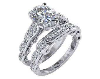 3 Carat Moissanite Engagement Ring ,Forever Brilliant Moissanite Ring, Wedding Set,3 Carat Oval Moissanite Engagement Ring.