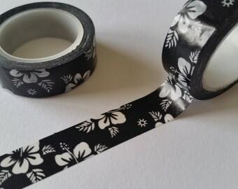 Black and White Hibiscus Washi Tape