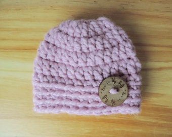 Baby Pink Baby Hat Pink Crochet Baby Hat Blossom Beanie Hat Pink Baby Photo Prop Hat Pink Baby Girl Beanie Blossom Baby Girl Hat
