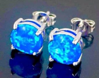 Fire Blue opal studs, .925 sterling silver