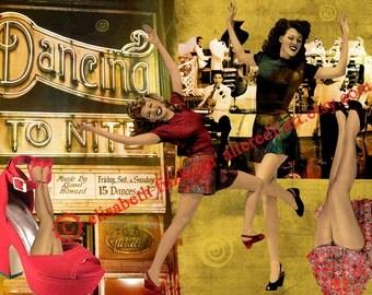 Dancing Tonite collage, digital download, 5x7