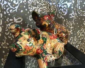 Vintage Ceramic Printed Pigs (Set of 2)