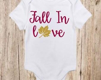 Fall In Love Glitter, Shirt, Toddler, Infant, Autumn, Fall, Customizable