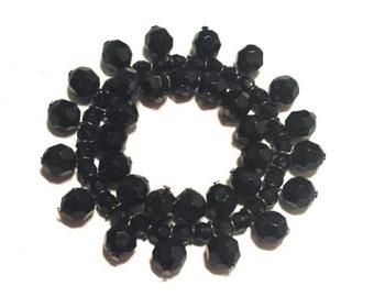 Black bead stretch bracelet, Black acrylic beads, stretch bracelet, beaded bracelet