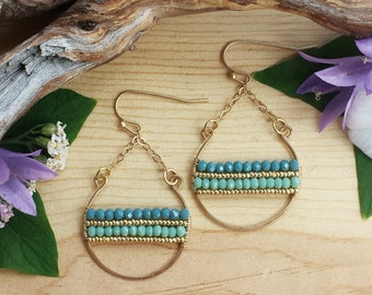 SALE! *15% OFF* Color Band Hoop EARRINGS in Gold >> Periwinkle Blue & Seafoam Green Crystals with Gold Seed Beads >> Boho Style