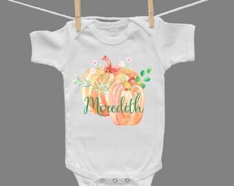 Personalized Watercolor Pumpkin Thanksgiving Halloween Infant Girl Baby Girl Baby Bodysuit