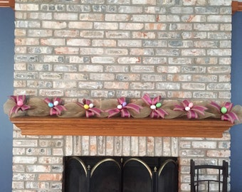 Easter burlap/mesh mix garland with glitter eggs