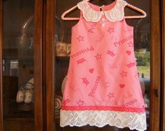 Girl's 5T Princess Dress, Girl's 5T Pink Dress, Upcycled 5T Girl's Dress, 5T Girl's Dress, Lined & Sleeveless 5T Girl's Dress