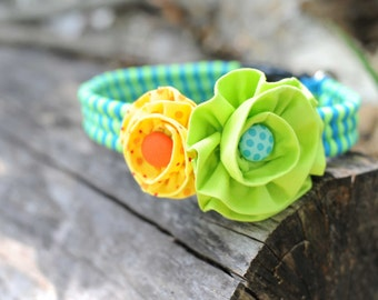 Lime Green & Aqua Blue Durable , Woven, Thick Dog Collar Set With Two Coordinating Removable Vintage Fabric Flower Blooms