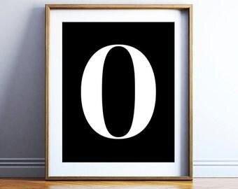 Number printable poster - download 0 print - bold typographic wall art - modern print - nordic design printable decor - DIGITAL DOWNLOAD