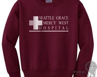 JUST LOGO Seattle Grace Mercy West Hospital printed on Black, White, Light steel, Maroon or Navy Crew neck Sweatshirt
