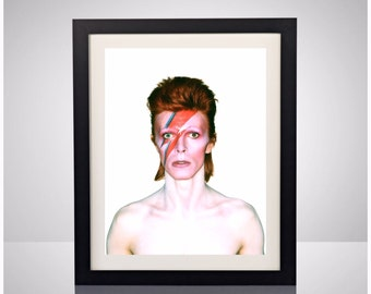 David Bowie Aladdin Sane 1973 Album Cover Ziggy Stardust Lightning Bolt 11x17 Poster Print Wall Art Home Decor Classic Rock Music